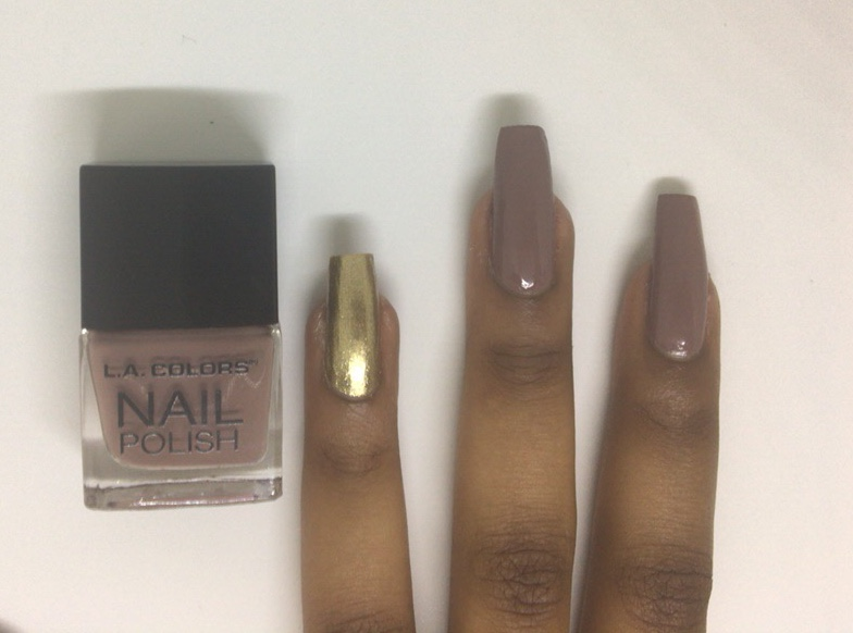 Browngold Nail Design Pink Glitter Life