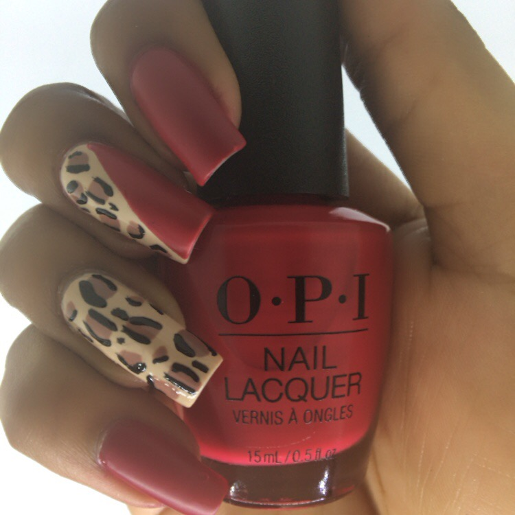 Red + Leopard Print Nails