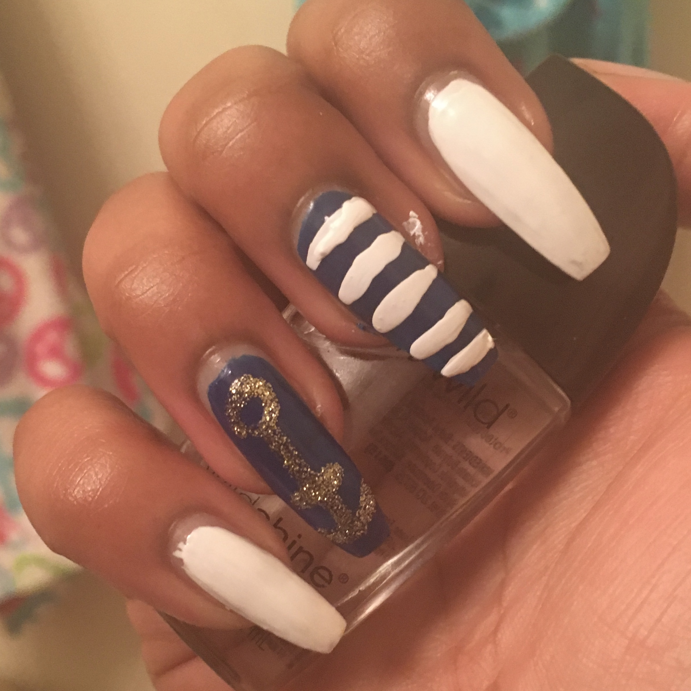 Navy Blue Nautical Nails | Pink Glitter Life