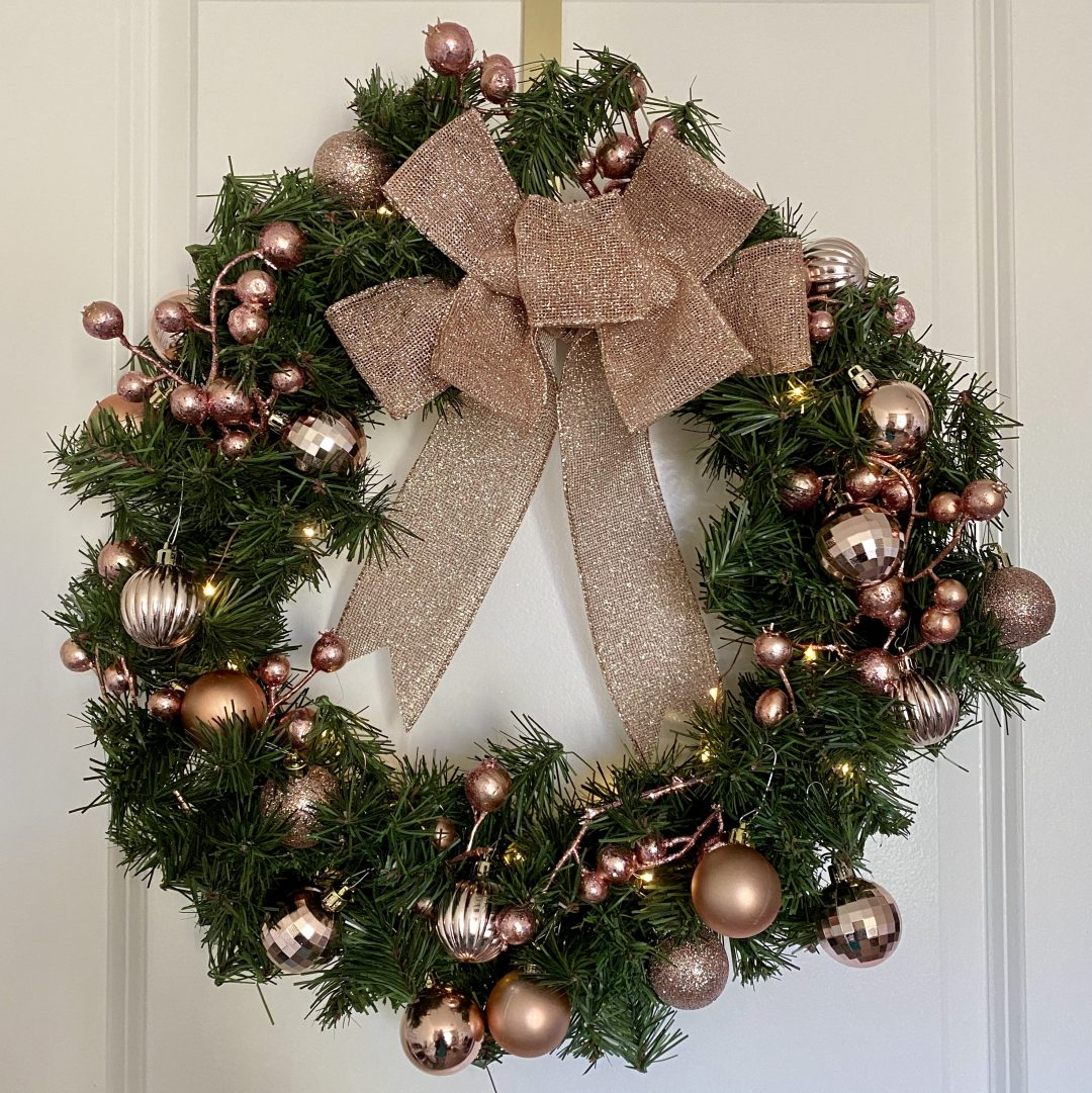 2020 Diy Christmas Decor Rose Gold Bow And Wreath Pink Glitter Life
